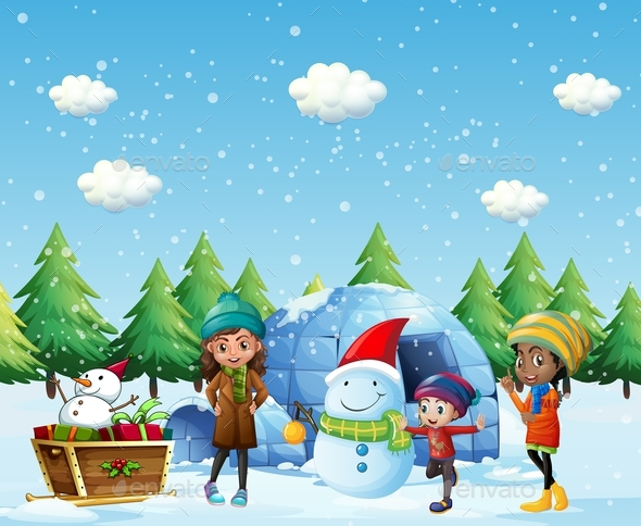 Children with Igloo and Snowman in Winter - People Characters
