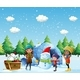 Children with Igloo and Snowman in Winter - GraphicRiver Item for Sale