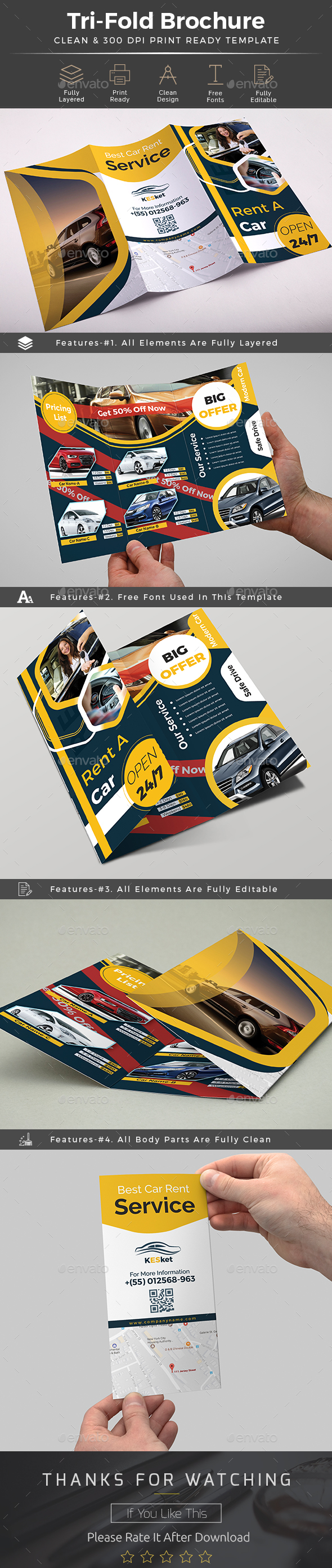 Rent a Car Trifold Brochure Template - Brochures Print Templates