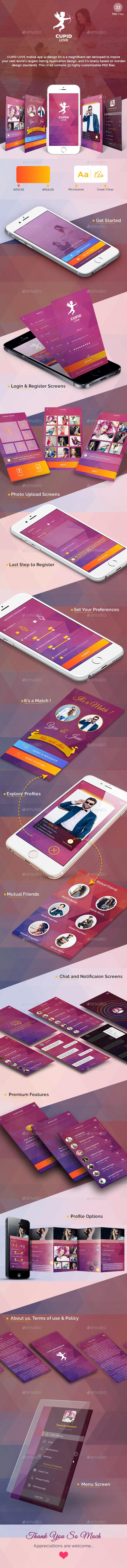 Cupid Love  - Dating App UI Kit - User Interfaces Web Elements