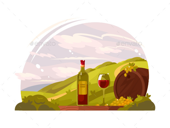 Vineyard with Rich Harvest - Miscellaneous Vectors