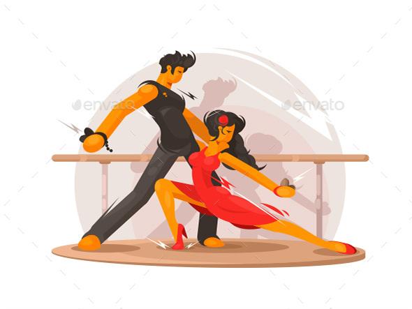 Dancing School Concept - People Characters