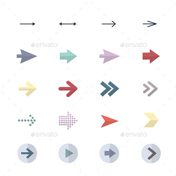 Arrow Icons Set Of Control Icons Vector Illustration Style Colorful Flat Icons - Abstract Icons