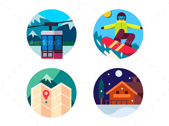 Ski Resort Set of Icons - Web Elements Vectors