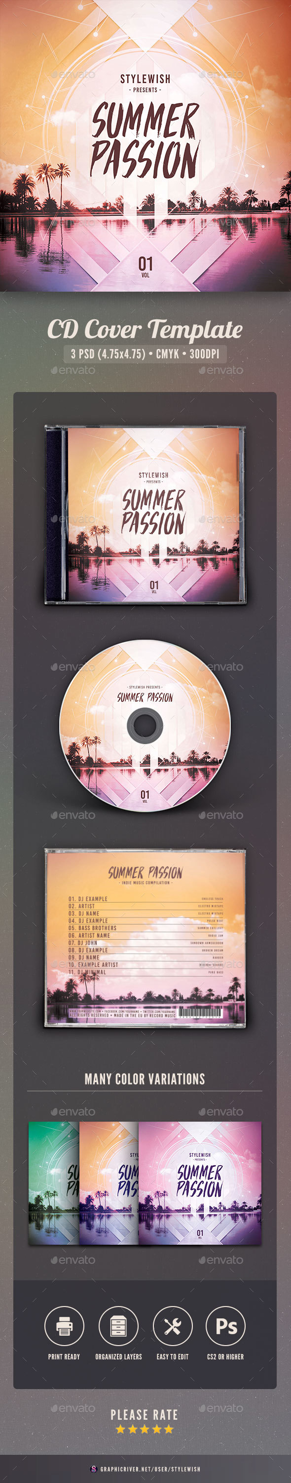 Summer Passion CD  Cover Artwork - CD & DVD Artwork Print Templates