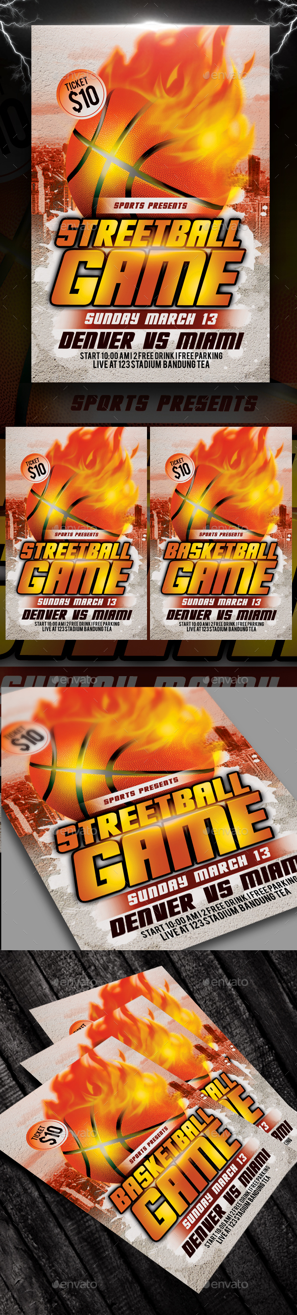 Streetball or Basketball Game Flyer - Sports Events
