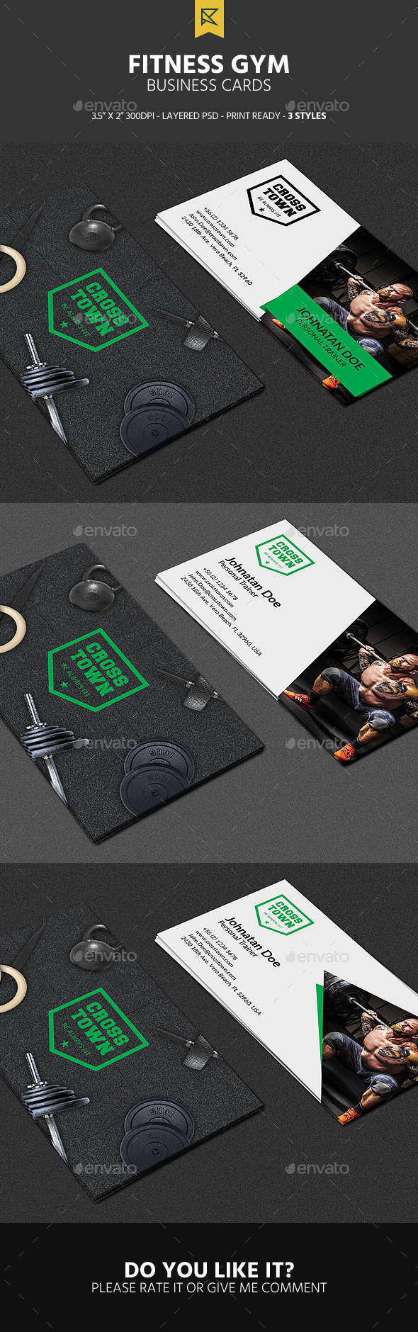 3 Fitness Gym Business Cards - Business Cards Print Templates