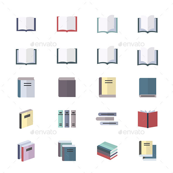 Book Icons Set Of Stationery Icons Vector Illustration Style Colorful Flat Icons - Objects Icons