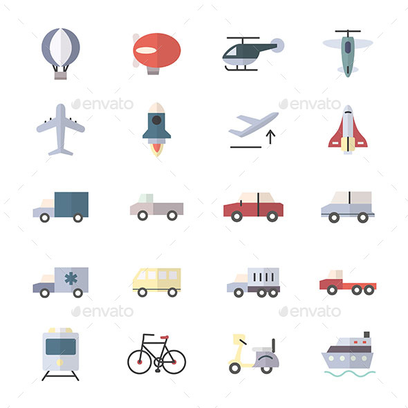 Car Icons and Transportation Icons Set Of Vector Illustration Style Colorful Flat Icons - Icons