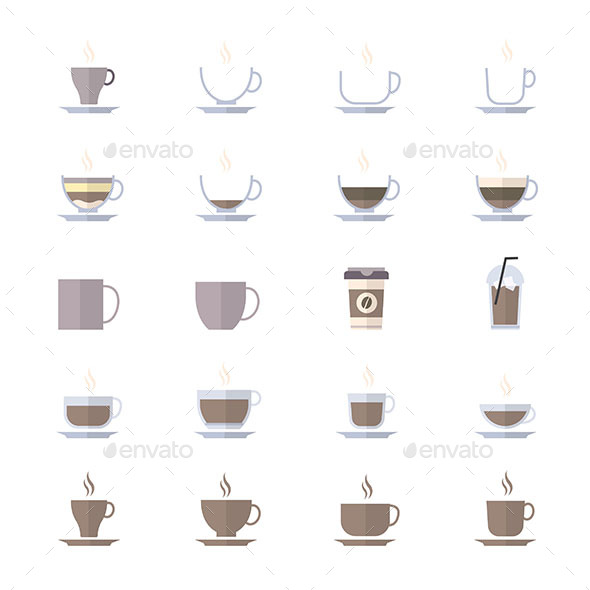 Coffee Cup Icons Set Of Drink Icons Vector Illustration Style Colorful Flat Icons - Food Objects