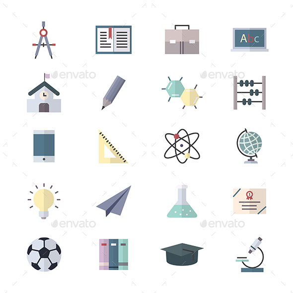 Education Icons, School Icons and Science Icons Set Of Vector Illustration Style Colorful Flat Icons - Icons