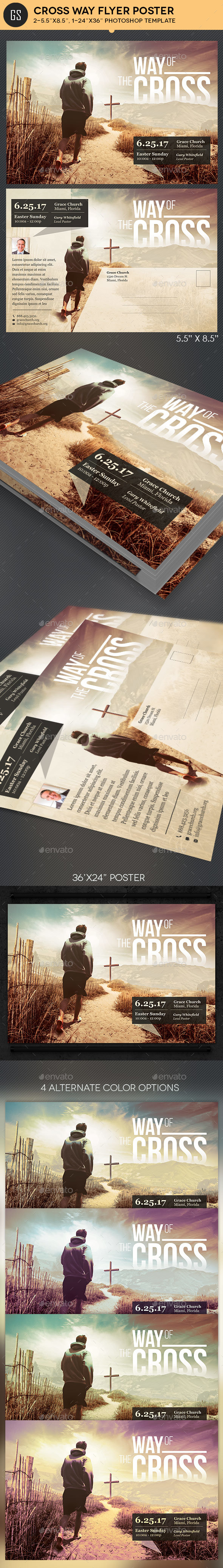 Cross Way Flyer Poster Template - Church Flyers