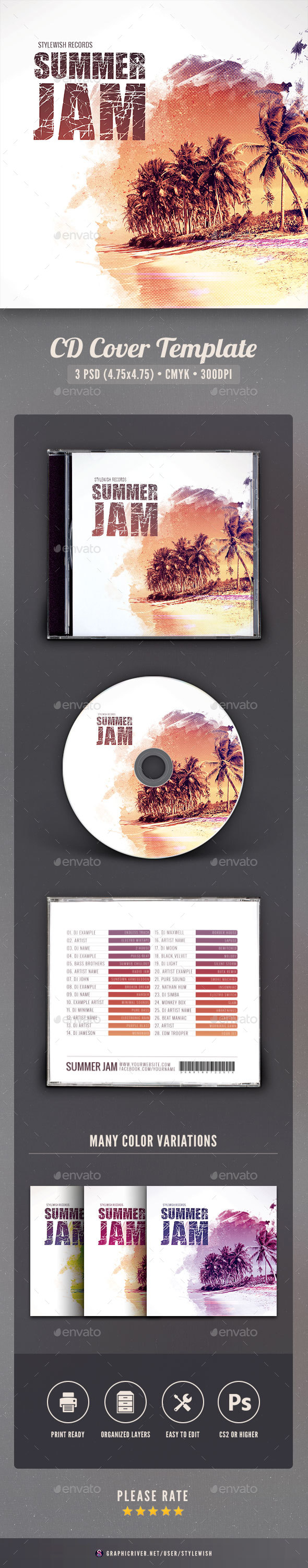 Summer Jam CD Cover Artwork - CD & DVD Artwork Print Templates