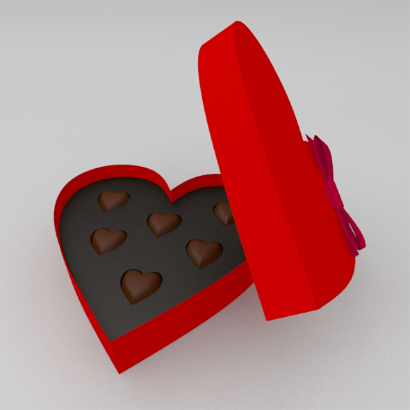 St.Valentine's gift heart shaped box of candy - 3DOcean Item for Sale