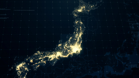 Japan map at night hd by rodionova videohive play preview video gumiabroncs Gallery