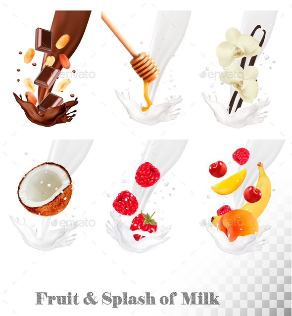 Set of Berries in Milk Splashes - Food Objects
