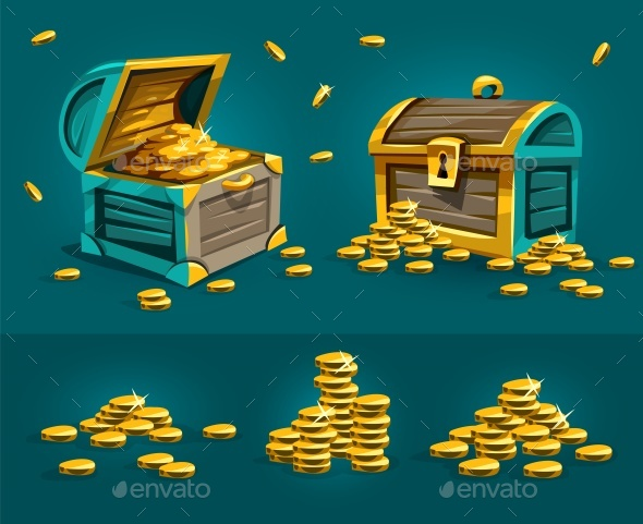 Piratic Trunks Chests with Gold Coins Treasures - Man-made Objects Objects