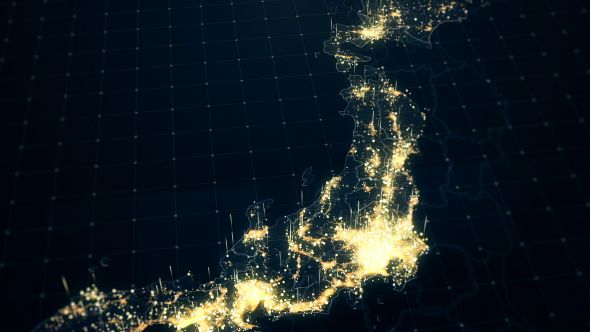 Japan map night lighting close view hd by rodionova videohive play preview video gumiabroncs Choice Image