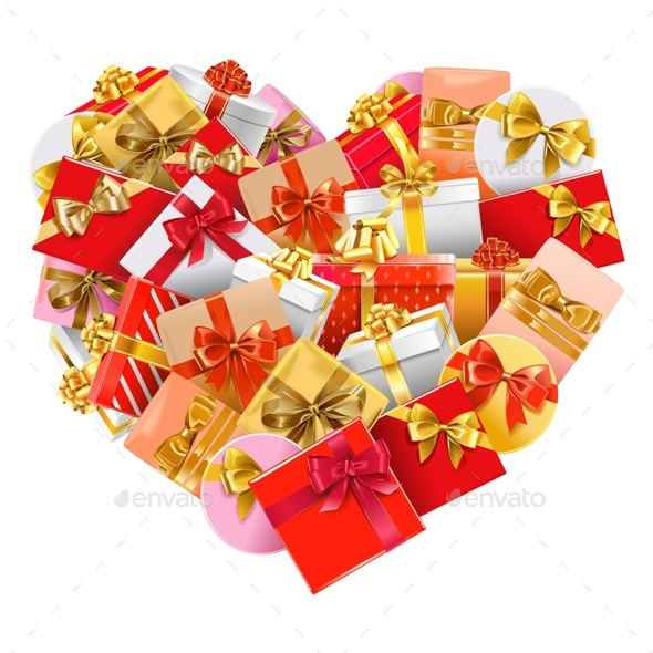 Vector Gifts in Shape of Heart - Valentines Seasons/Holidays