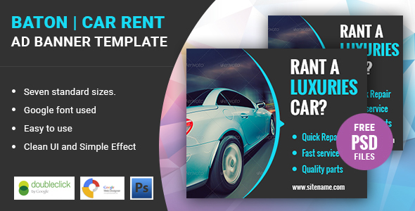 Baton | Car Rental HTML 5 Animated Google Banner - CodeCanyon Item for Sale