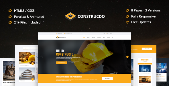Construcdo – Construction, Building & Renovation Html5 Template