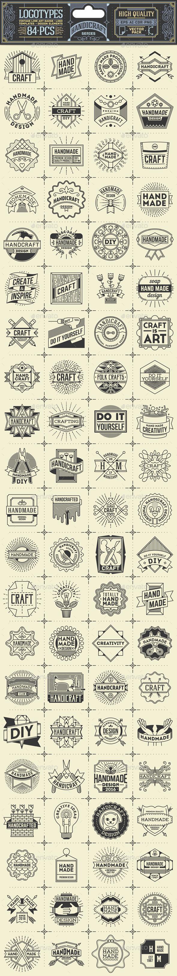 Handicraft Thin Line Badges and Logos - Decorative Symbols Decorative