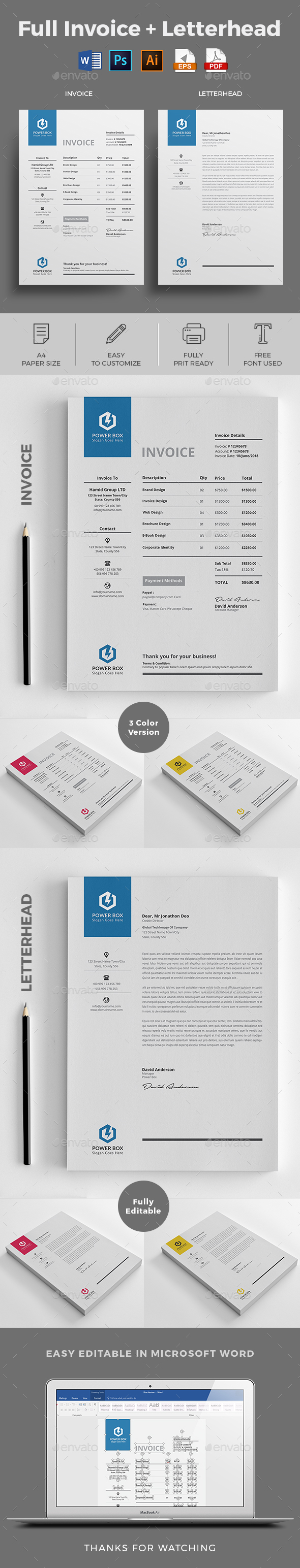 Invoice with Letterhead - Proposals & Invoices Stationery