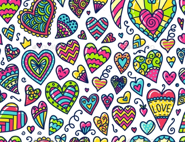 Doodles Seamless Pattern - Valentines Seasons/Holidays