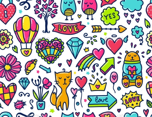 Doodle Seamless Pattern - Valentines Seasons/Holidays