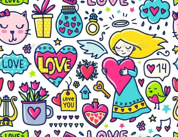 Doodle Seamless Pattern - Valentines Seasons/Holidays