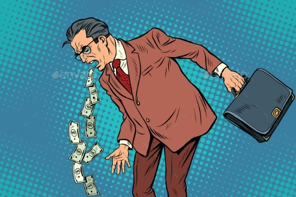 Businessman Sick of Money - People Characters