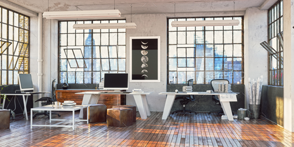 3D Rendering Loft Office Interior - Architecture 3D Renders