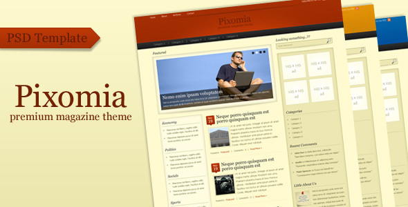 Pixomia – Premium PSD Template for WordPress