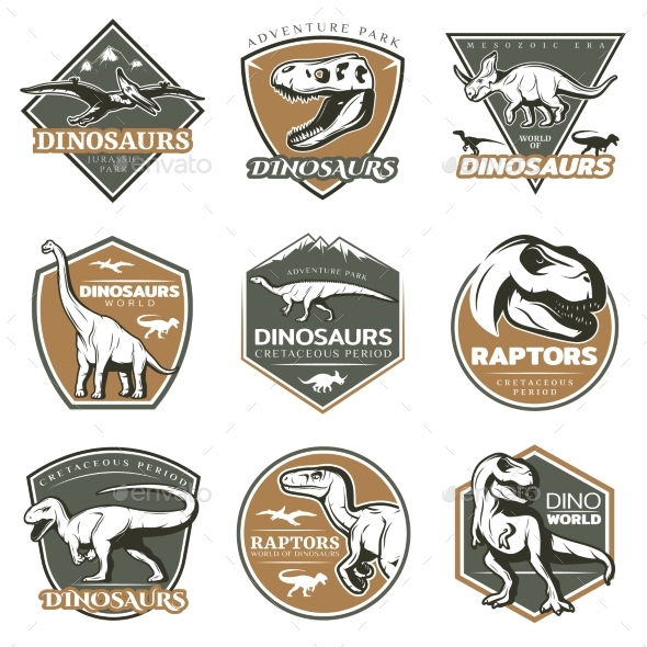 Colorful Vintage Dinosaur Labels - Animals Characters