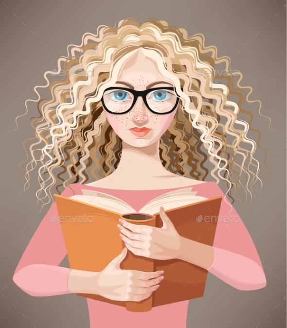 Girl with Glasses Reading a Book - People Characters