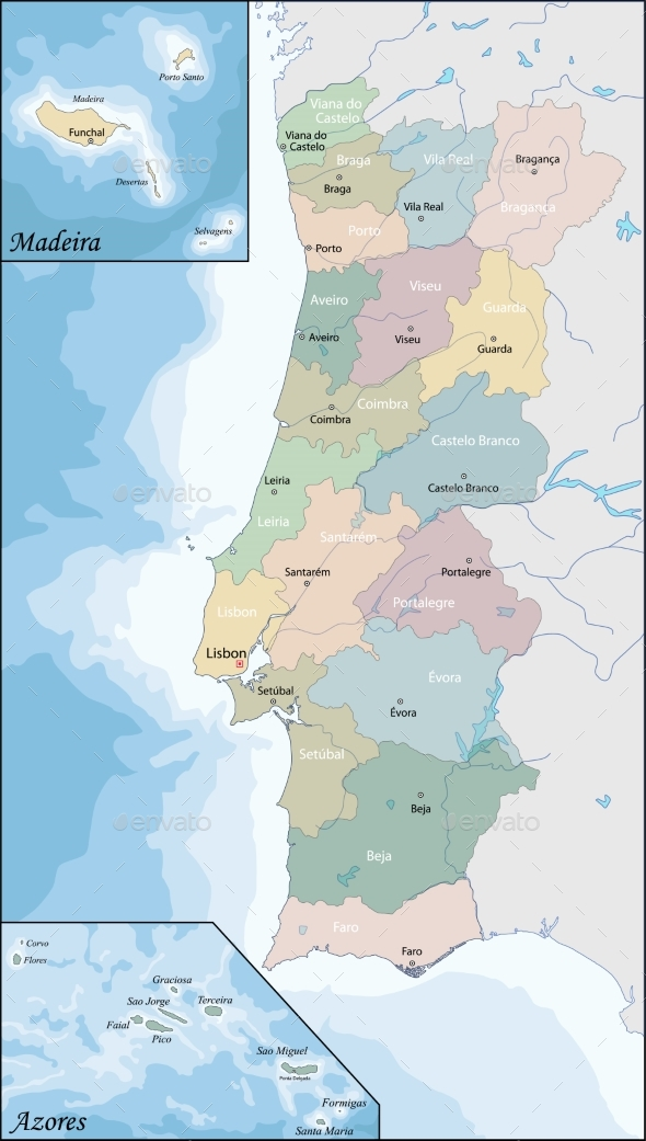 Map of Portugal - Miscellaneous Vectors