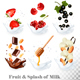 Set of Berries in Milk Splashes - GraphicRiver Item for Sale