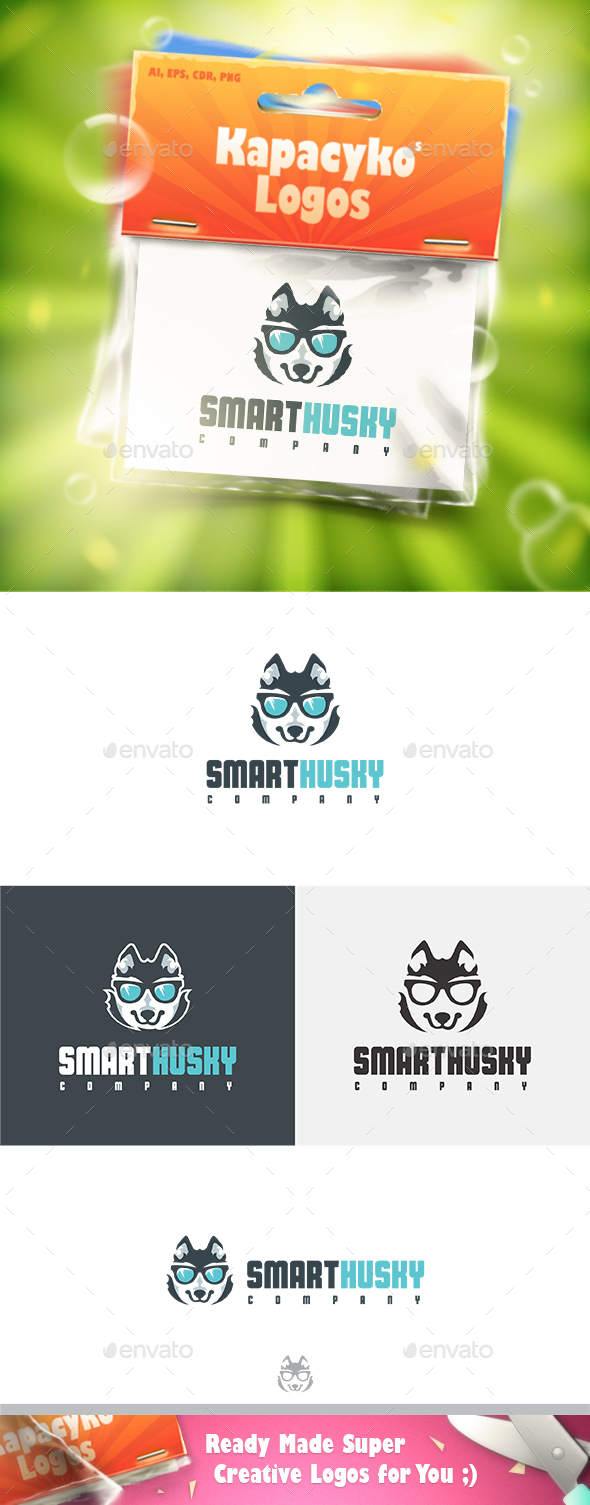 Smart Husky Logo - Animals Logo Templates