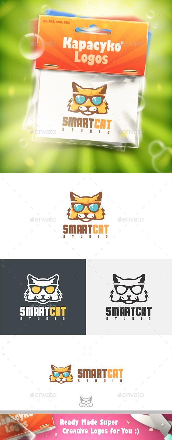 Smart Cat Logo - Animals Logo Templates