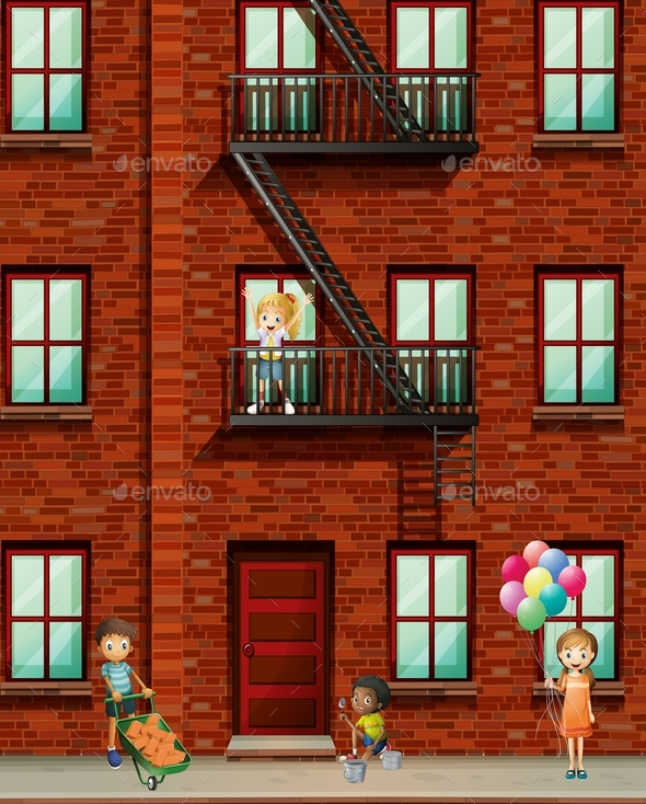 Apartment Building with Many Kids - People Characters