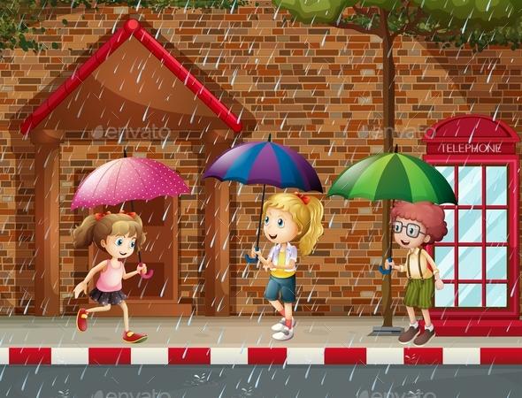 Three Kids in the Rain - People Characters
