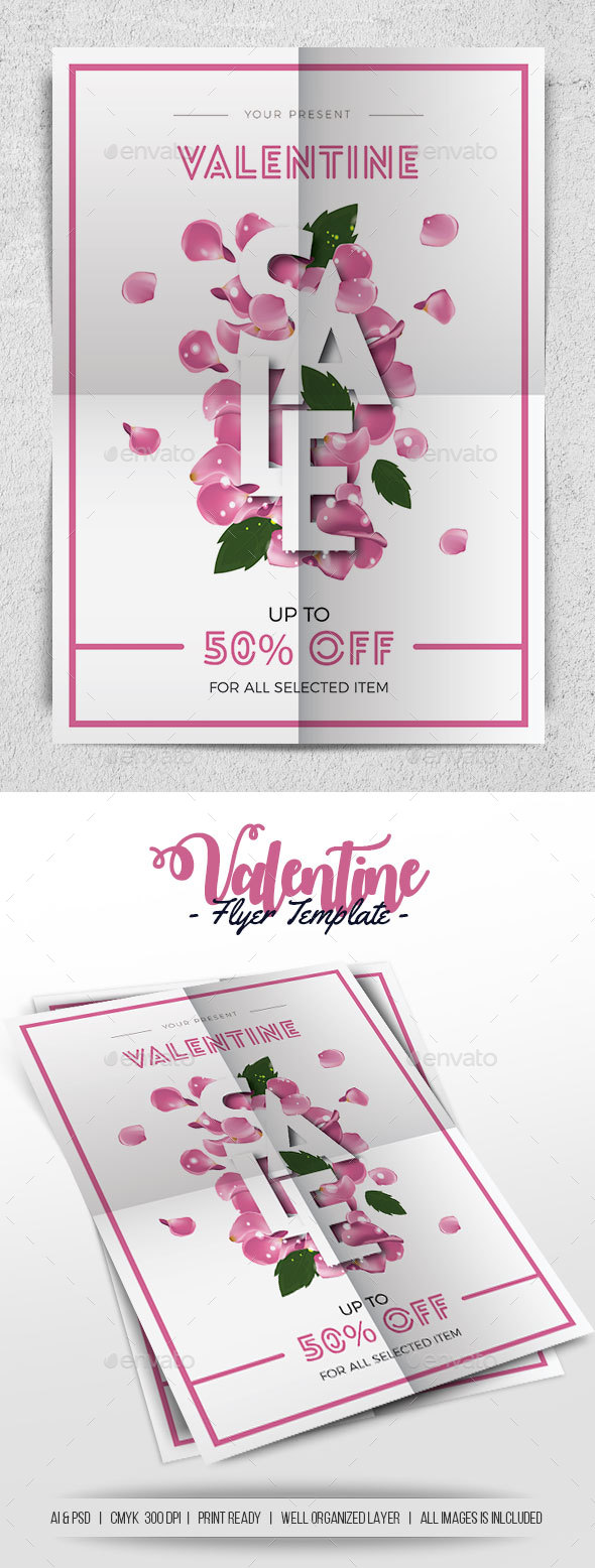 Valentine Sale - Flyers Print Templates