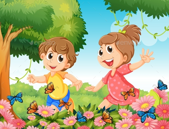 Boy and Girl Playing with Butterflies in Garden - People Characters