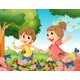 Boy and Girl Playing with Butterflies in Garden - GraphicRiver Item for Sale