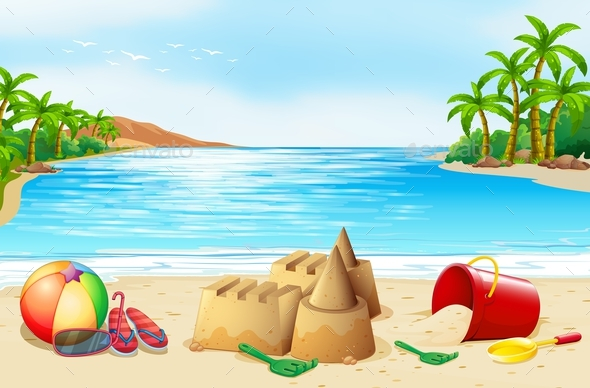 Beach Scene with Many Toys - Landscapes Nature