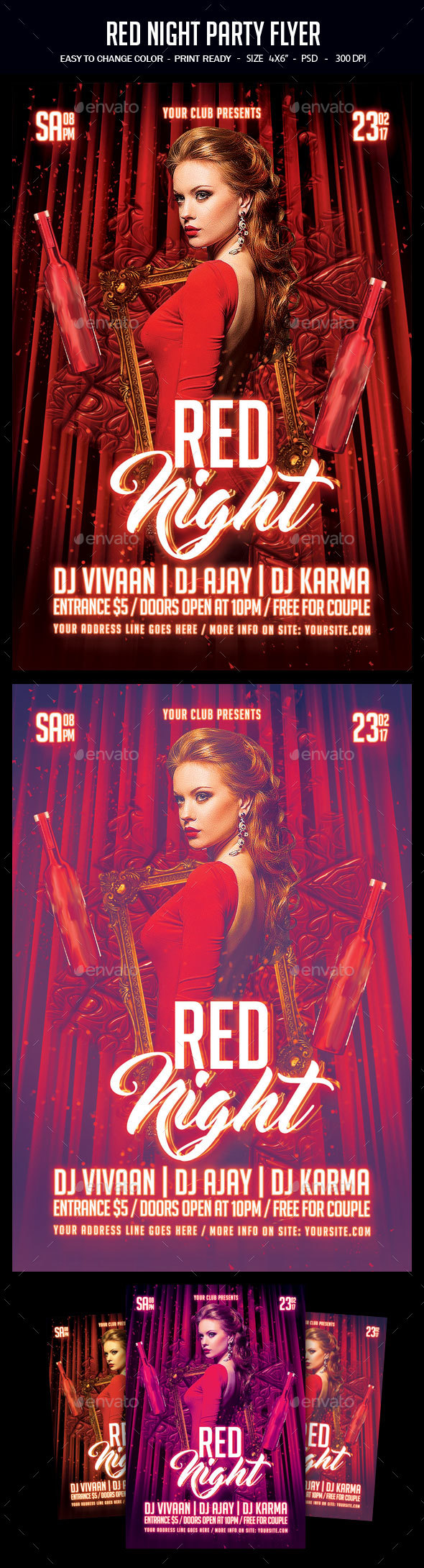 Red Night Party Flyer - Clubs & Parties Events