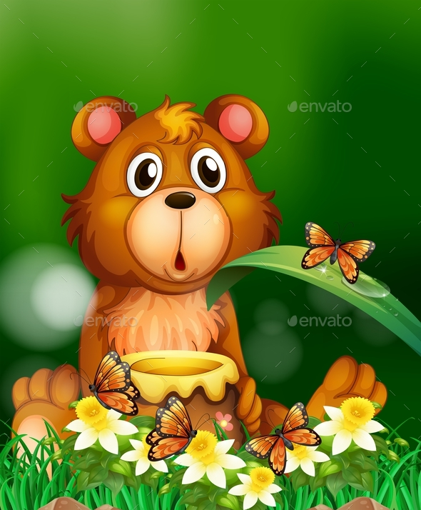 Bear with Honey Pot - Animals Characters