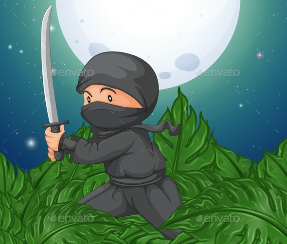 Ninja Holding Sword in the Bush - People Characters
