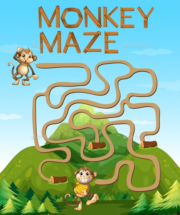 Maze Game with Monkeys in the Forest - People Characters