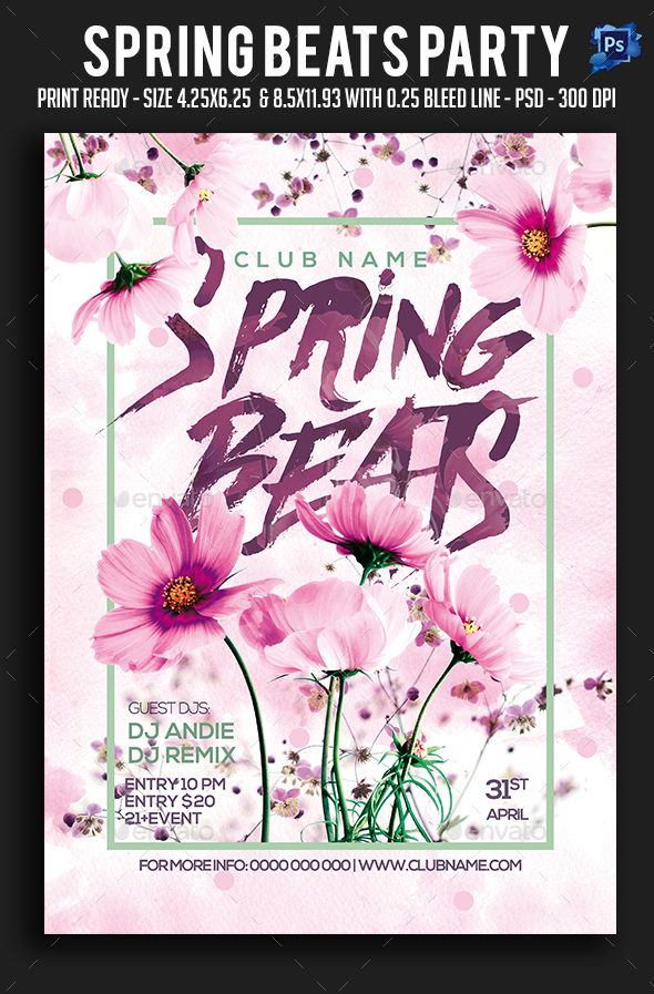 Spring Beats Party Flyer - Clubs & Parties Events